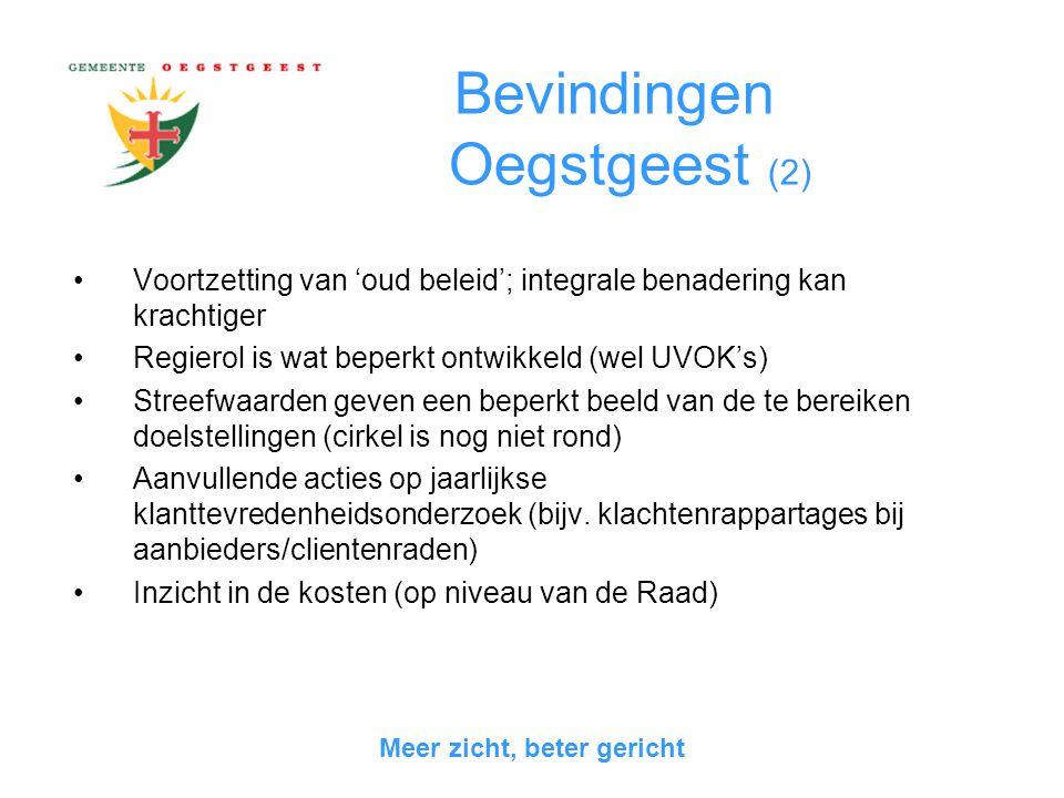 Hoofdstuk 5: Vergelijking tussen gemeenten Beleid  Wassenaar heeft nieuwe opzet met aandacht voor integraliteit  Oegstgeest heeft een duidelijke analyse van het beleidsprobleem Uitvoering  Huish.