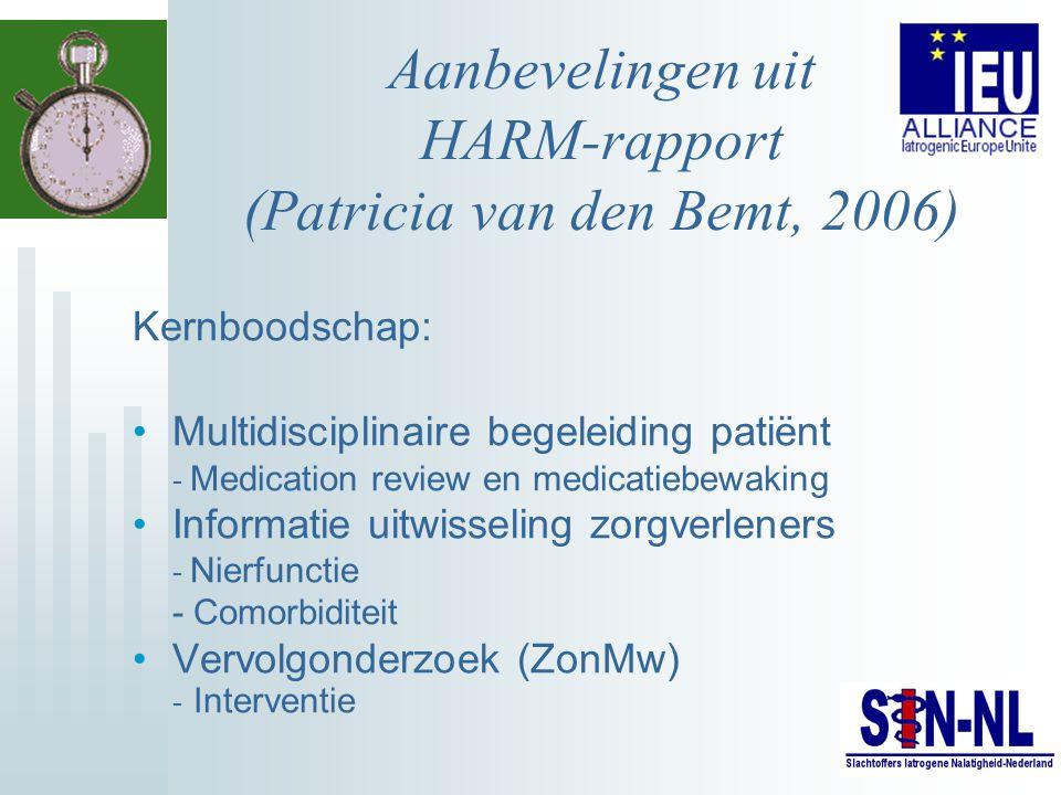 Aanbevelingen uit HARM-rapport (Patricia van den Bemt, 2006) Kernboodschap: Multidisciplinaire begeleiding patiënt - Medication review en medicatiebew