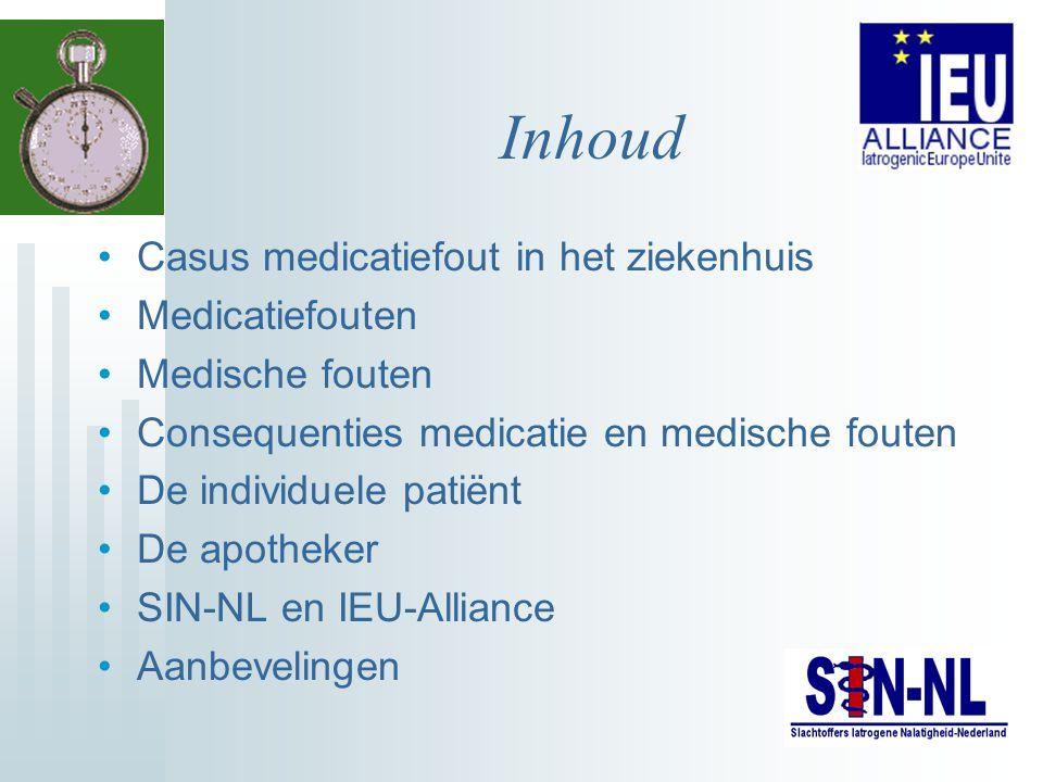 Inhoud Casus medicatiefout in het ziekenhuis Medicatiefouten Medische fouten Consequenties medicatie en medische fouten De individuele patiënt De apot