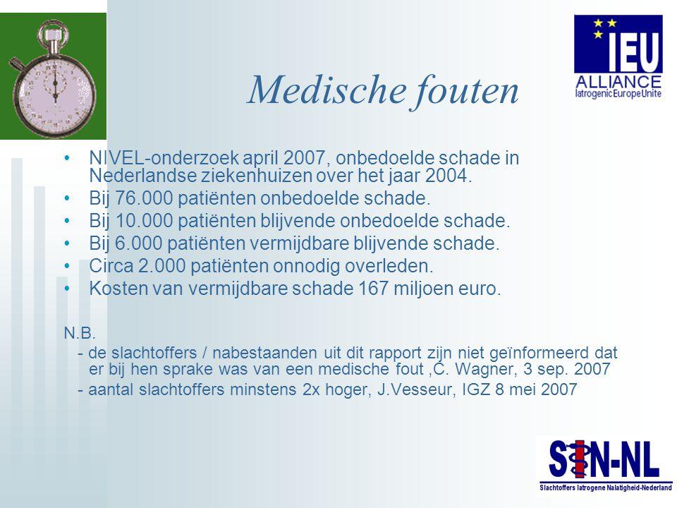 Medische fouten NIVEL-onderzoek april 2007, onbedoelde schade in Nederlandse ziekenhuizen over het jaar 2004. Bij 76.000 patiënten onbedoelde schade.