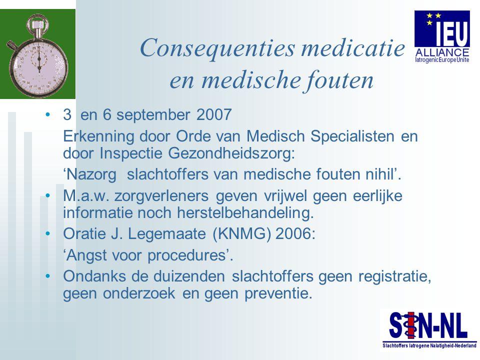 Consequenties medicatie en medische fouten 3 en 6 september 2007 Erkenning door Orde van Medisch Specialisten en door Inspectie Gezondheidszorg: 'Nazo