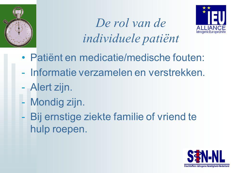 De rol van de individuele patiënt Patiënt en medicatie/medische fouten: -Informatie verzamelen en verstrekken. -Alert zijn. -Mondig zijn. -Bij ernstig
