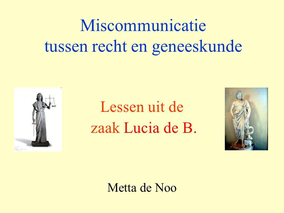 Miscommunicatie tussen recht en geneeskunde Lessen uit de zaak Lucia de B. Metta de Noo