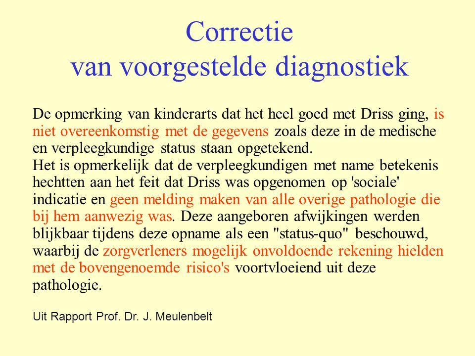 Correctie van voorgestelde diagnostiek De opmerking van kinderarts dat het heel goed met Driss ging, is niet overeenkomstig met de gegevens zoals deze