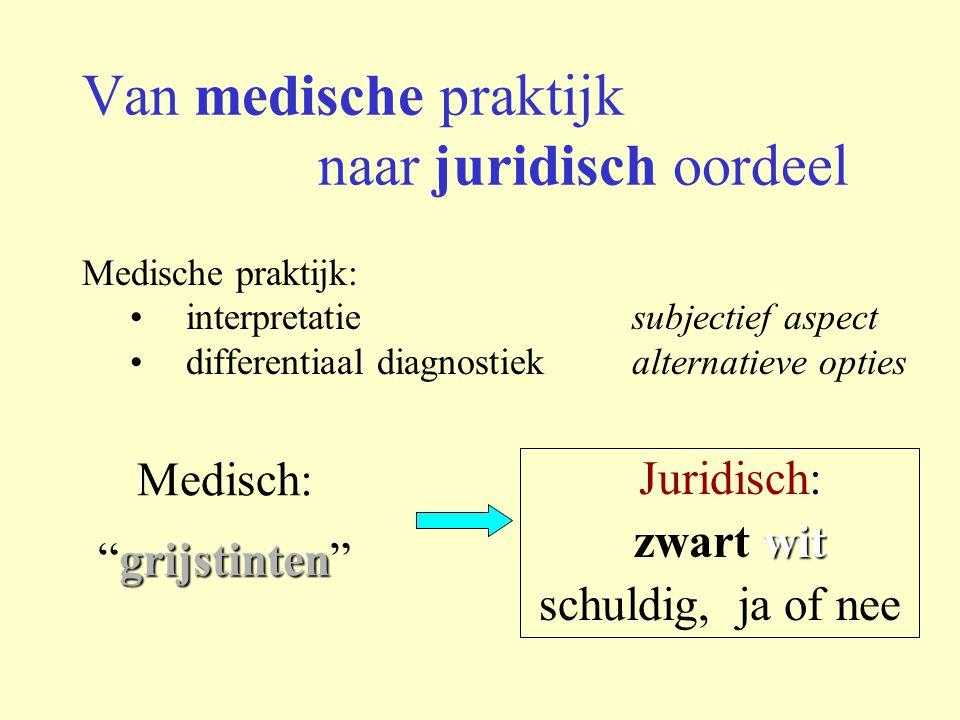 Van medische praktijk naar juridisch oordeel Medische praktijk: interpretatie subjectief aspect differentiaal diagnostiek alternatieve opties Juridisc