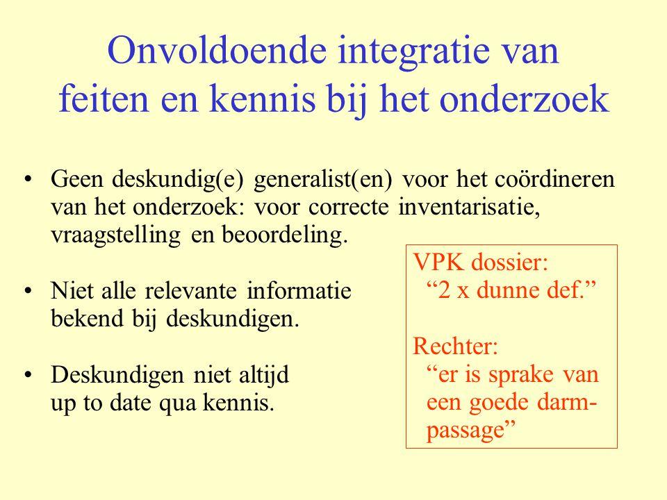 Onvoldoende integratie van feiten en kennis bij het onderzoek Geen deskundig(e) generalist(en) voor het coördineren van het onderzoek: voor correcte i