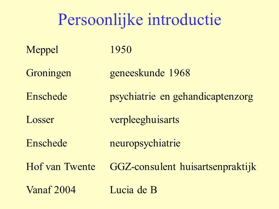 Persoonlijke introductie Meppel 1950 Groningengeneeskunde 1968 Enschede psychiatrie en gehandicaptenzorg Losserverpleeghuisarts Enschedeneuropsychiatr