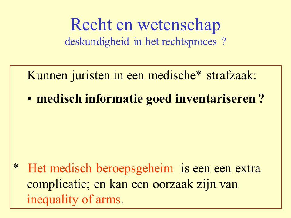 Recht en wetenschap deskundigheid in het rechtsproces ? Kunnen juristen in een medische* strafzaak: medisch informatie goed inventariseren ? * Het med