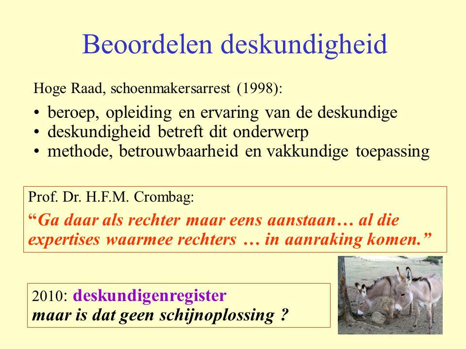 Beoordelen deskundigheid Hoge Raad, schoenmakersarrest (1998): beroep, opleiding en ervaring van de deskundige deskundigheid betreft dit onderwerp met