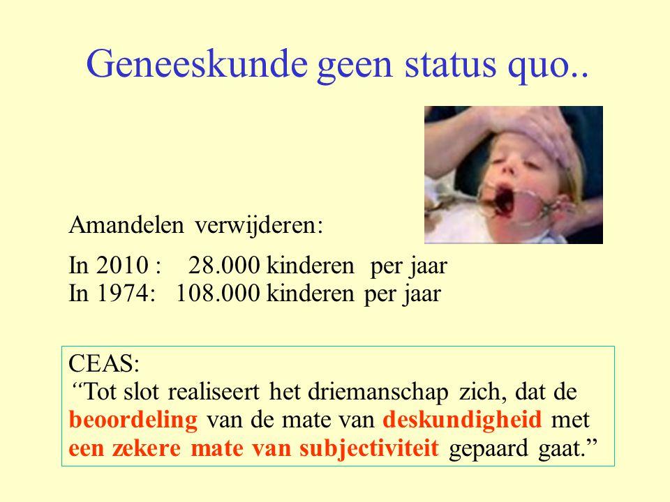 """Geneeskunde geen status quo.. Amandelen verwijderen: In 2010 : 28.000 kinderen per jaar In 1974: 108.000 kinderen per jaar CEAS: """"Tot slot realiseert"""