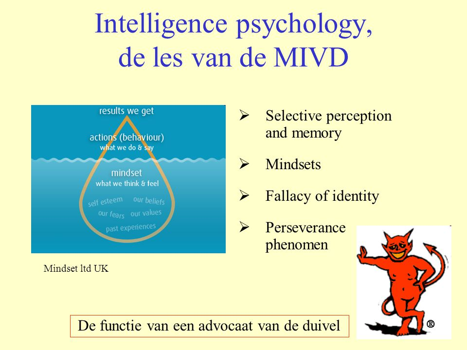 Intelligence psychology, de les van de MIVD  Selective perception and memory  Mindsets  Fallacy of identity  Perseverance phenomen Mindset ltd UK