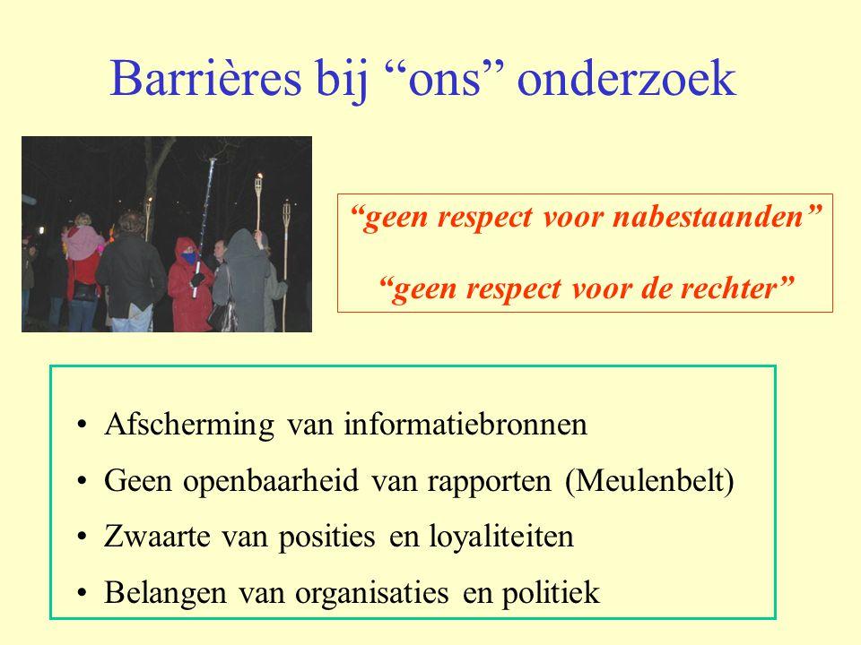 """Barrières bij """"ons"""" onderzoek Afscherming van informatiebronnen Geen openbaarheid van rapporten (Meulenbelt) Zwaarte van posities en loyaliteiten Bela"""