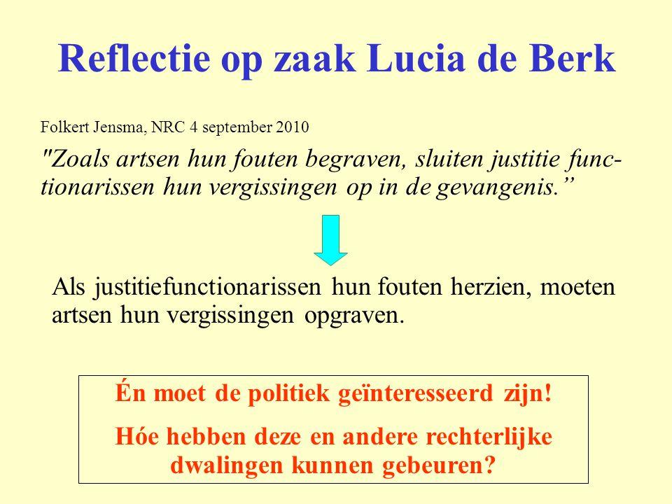 Reflectie op zaak Lucia de Berk Folkert Jensma, NRC 4 september 2010
