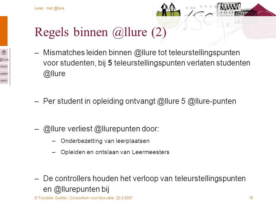 © Twynstra Gudde | Consortium voor Innovatie 22-3-2007 Leren met @llure leren weten denk @llure 18 Regels binnen @llure (2) –Mismatches leiden binnen