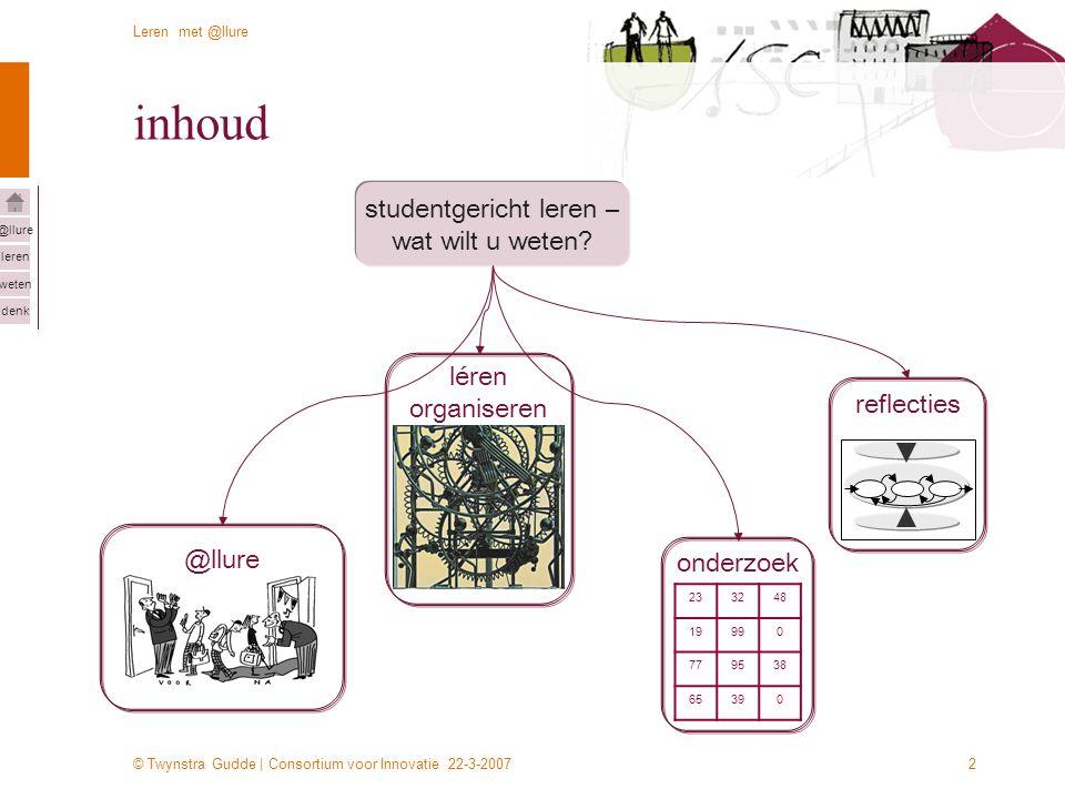 © Twynstra Gudde | Consortium voor Innovatie 22-3-2007 Leren met @llure leren weten denk @llure 2 inhoud studentgericht leren – wat wilt u weten? @llu