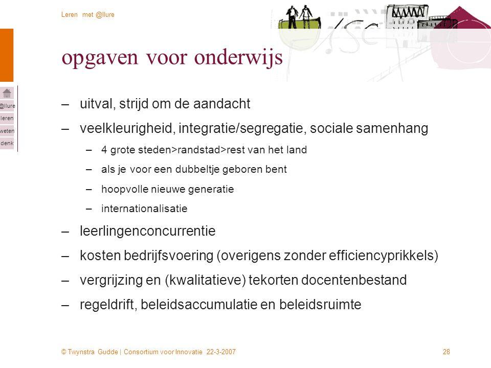 © Twynstra Gudde | Consortium voor Innovatie 22-3-2007 Leren met @llure leren weten denk @llure 28 opgaven voor onderwijs –uitval, strijd om de aandac