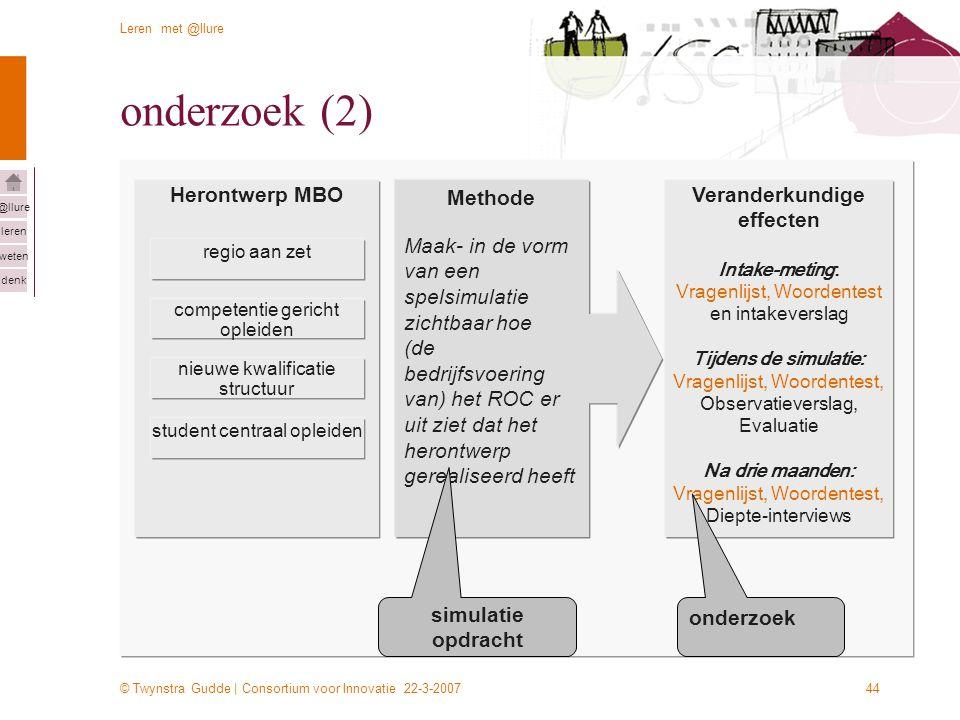 © Twynstra Gudde | Consortium voor Innovatie 22-3-2007 Leren met @llure leren weten denk @llure 44 Herontwerp MBO regio aan zet competentie gericht op