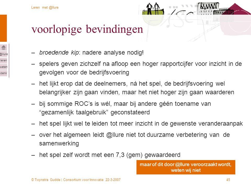 © Twynstra Gudde | Consortium voor Innovatie 22-3-2007 Leren met @llure leren weten denk @llure 45 voorlopige bevindingen –broedende kip: nadere analyse nodig.
