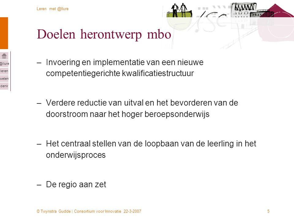 © Twynstra Gudde | Consortium voor Innovatie 22-3-2007 Leren met @llure leren weten denk @llure 5 Doelen herontwerp mbo –Invoering en implementatie va