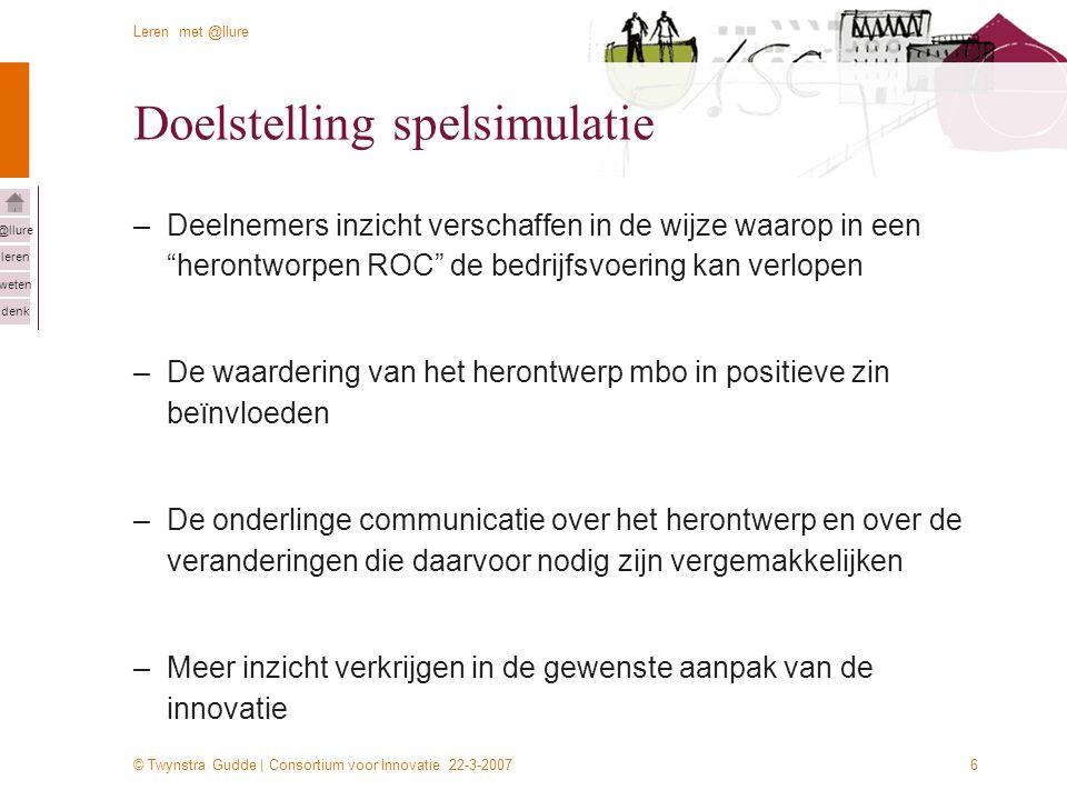 © Twynstra Gudde | Consortium voor Innovatie 22-3-2007 Leren met @llure leren weten denk @llure 6 Doelstelling spelsimulatie –Deelnemers inzicht versc