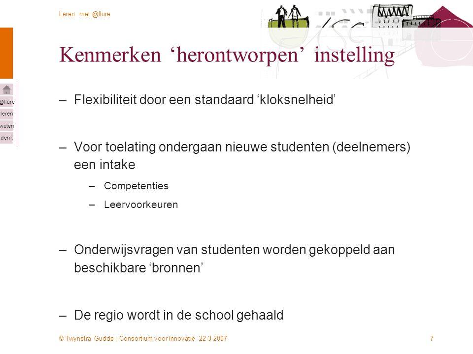 © Twynstra Gudde | Consortium voor Innovatie 22-3-2007 Leren met @llure leren weten denk @llure 7 Kenmerken 'herontworpen' instelling –Flexibiliteit door een standaard 'kloksnelheid' –Voor toelating ondergaan nieuwe studenten (deelnemers) een intake –Competenties –Leervoorkeuren –Onderwijsvragen van studenten worden gekoppeld aan beschikbare 'bronnen' –De regio wordt in de school gehaald