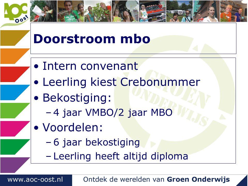 Doorstroom mbo Intern convenant Leerling kiest Crebonummer Bekostiging: –4 jaar VMBO/2 jaar MBO Voordelen: –6 jaar bekostiging –Leerling heeft altijd diploma