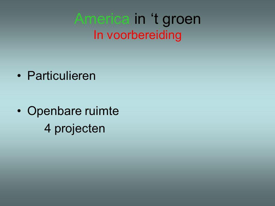 America in 't groen In voorbereiding Particulieren Openbare ruimte 4 projecten