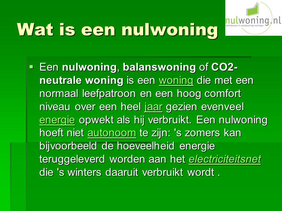 Wat is een nulwoning  Een nulwoning, balanswoning of CO2- neutrale woning is een woning die met een normaal leefpatroon en een hoog comfort niveau over een heel jaar gezien evenveel energie opwekt als hij verbruikt.