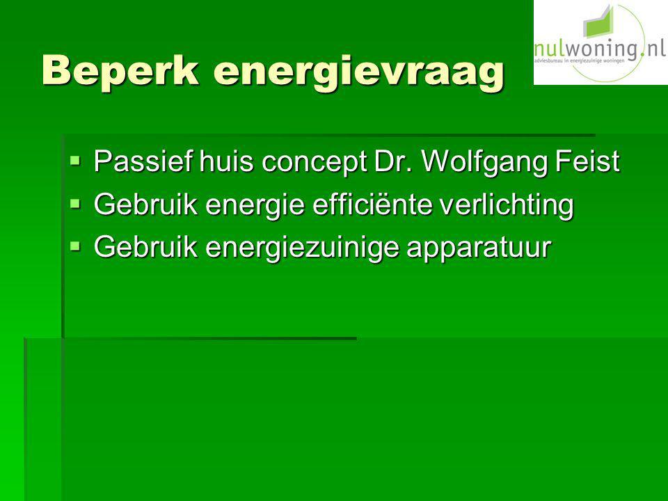 Beperk energievraag  Passief huis concept Dr. Wolfgang Feist  Gebruik energie efficiënte verlichting  Gebruik energiezuinige apparatuur
