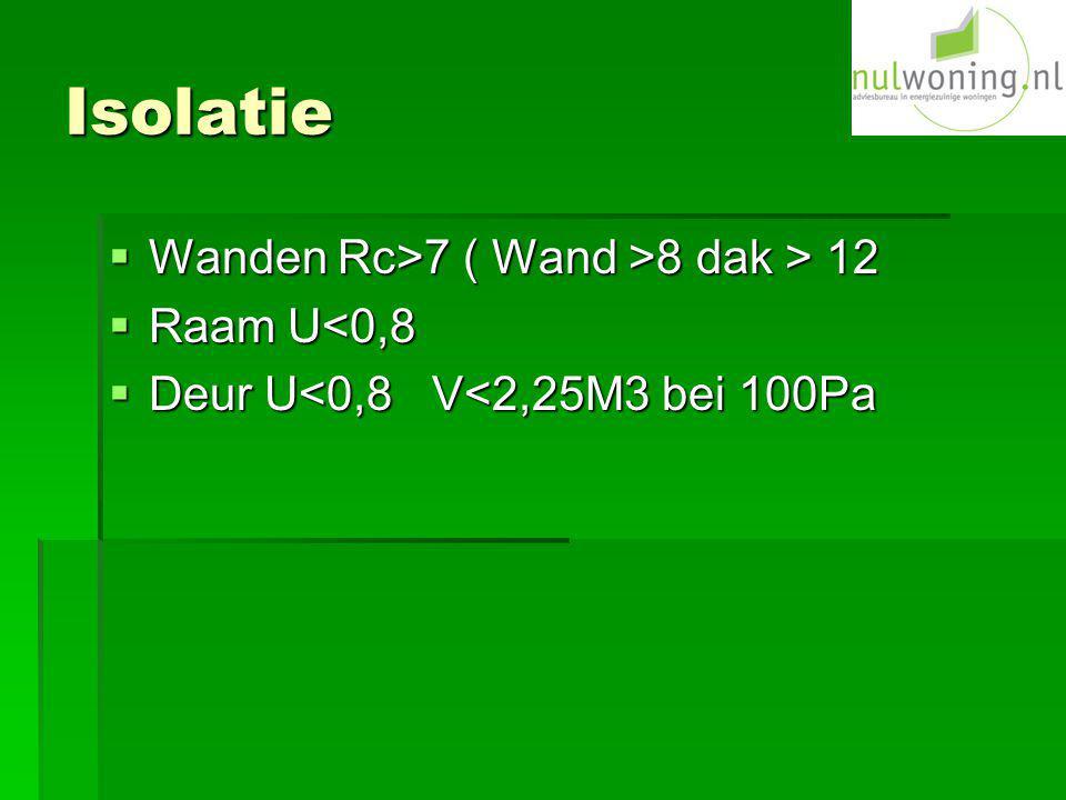 Isolatie  Wanden Rc>7 ( Wand >8 dak > 12  Raam U<0,8  Deur U<0,8 V<2,25M3 bei 100Pa