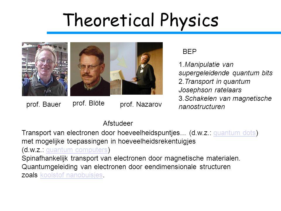 Theoretical Physics 1.Manipulatie van supergeleidende quantum bits 2.Transport in quantum Josephson ratelaars 3.Schakelen van magnetische nanostructuren Transport van electronen door hoeveelheidspuntjes...