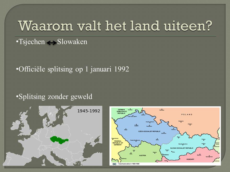 Tsjechen Slowaken Officiële splitsing op 1 januari 1992 Splitsing zonder geweld