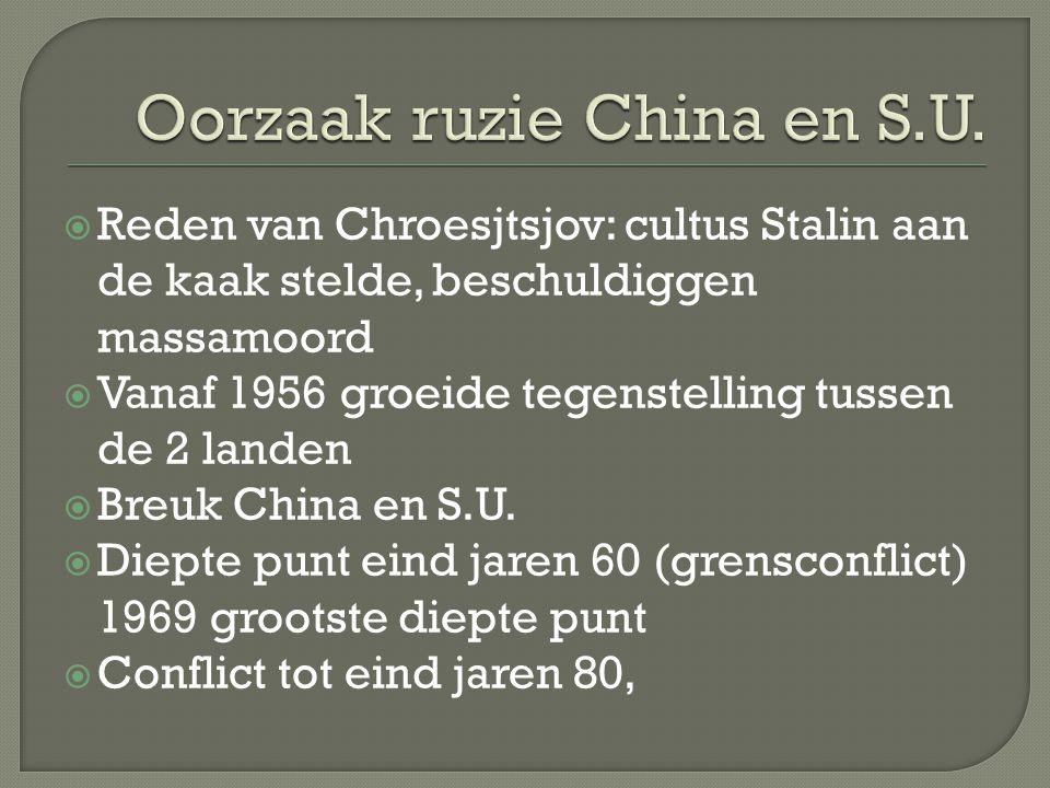  Reden van Chroesjtsjov: cultus Stalin aan de kaak stelde, beschuldiggen massamoord  Vanaf 1956 groeide tegenstelling tussen de 2 landen  Breuk China en S.U.