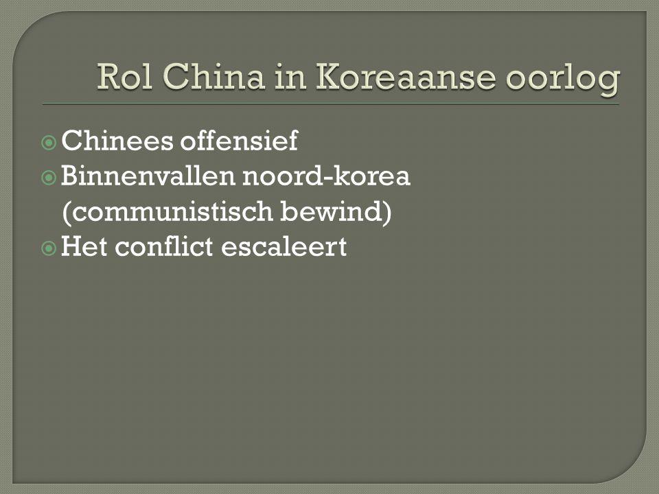  Chinees offensief  Binnenvallen noord-korea (communistisch bewind)  Het conflict escaleert