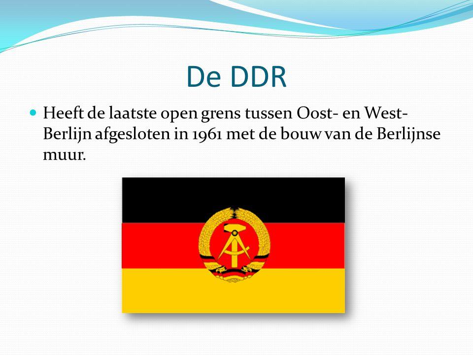 De DDR Heeft de laatste open grens tussen Oost- en West- Berlijn afgesloten in 1961 met de bouw van de Berlijnse muur.