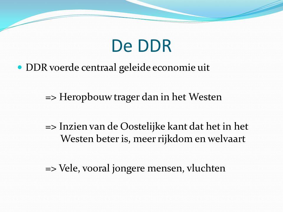 De DDR DDR voerde centraal geleide economie uit => Heropbouw trager dan in het Westen => Inzien van de Oostelijke kant dat het in het Westen beter is,