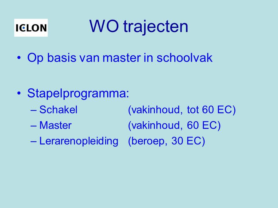 WO trajecten Op basis van master in schoolvak Stapelprogramma: –Schakel (vakinhoud, tot 60 EC) –Master(vakinhoud, 60 EC) –Lerarenopleiding(beroep, 30 EC)