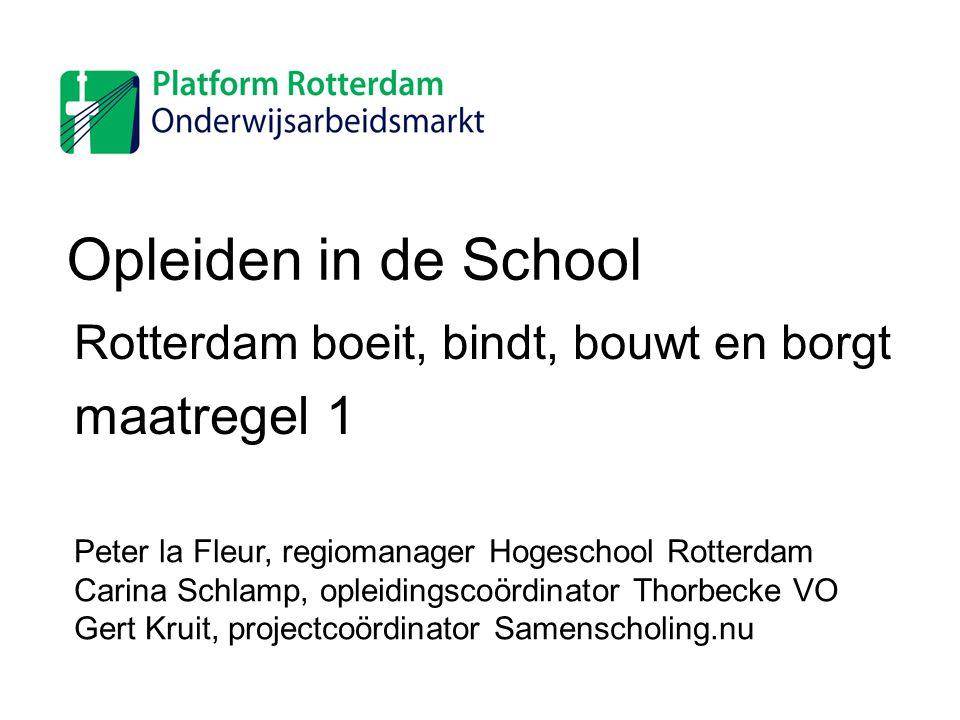 Opleiden in de School Rotterdam boeit, bindt, bouwt en borgt maatregel 1 Peter la Fleur, regiomanager Hogeschool Rotterdam Carina Schlamp, opleidingsc