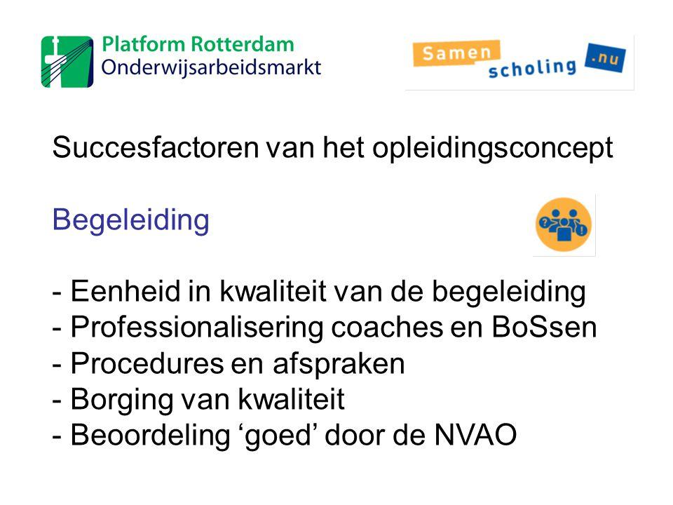 Succesfactoren van het opleidingsconcept Begeleiding - Eenheid in kwaliteit van de begeleiding - Professionalisering coaches en BoSsen - Procedures en
