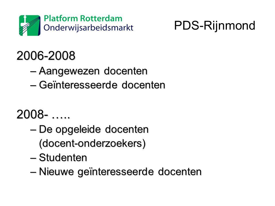 2006-2008 –Aangewezen docenten –Geïnteresseerde docenten 2008- ….. –De opgeleide docenten (docent-onderzoekers) –Studenten –Nieuwe geïnteresseerde doc