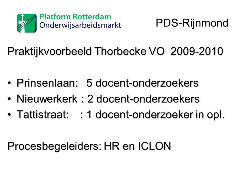 Praktijkvoorbeeld Thorbecke VO 2009-2010 Prinsenlaan: 5 docent-onderzoekersPrinsenlaan: 5 docent-onderzoekers Nieuwerkerk: 2 docent-onderzoekersNieuwe