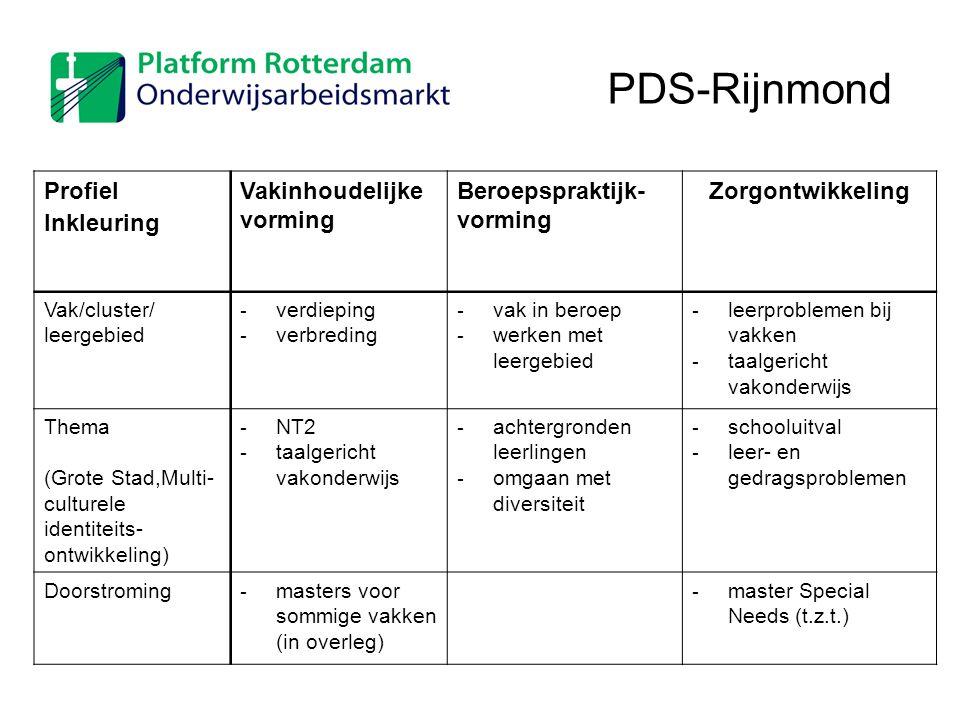 Profiel Inkleuring Vakinhoudelijke vorming Beroepspraktijk- vorming Zorgontwikkeling Vak/cluster/ leergebied - verdieping - verbreding - vak in beroep