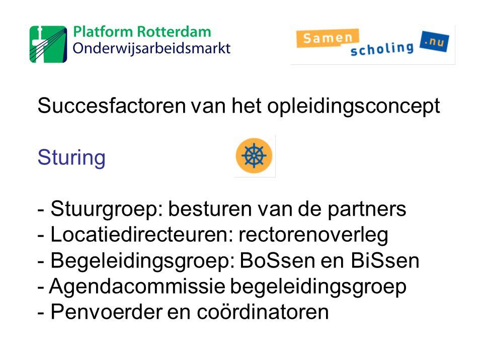 Succesfactoren van het opleidingsconcept Sturing - Stuurgroep: besturen van de partners - Locatiedirecteuren: rectorenoverleg - Begeleidingsgroep: BoS