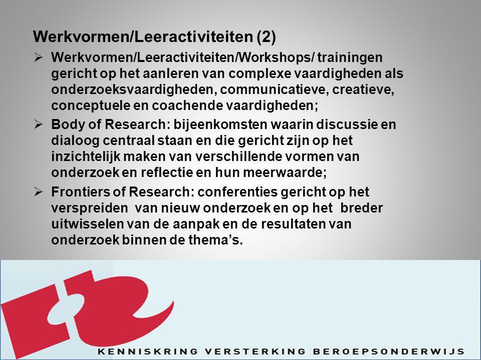 Werkvormen/Leeractiviteiten (2)  Werkvormen/Leeractiviteiten/Workshops/ trainingen gericht op het aanleren van complexe vaardigheden als onderzoeksvaardigheden, communicatieve, creatieve, conceptuele en coachende vaardigheden;  Body of Research: bijeenkomsten waarin discussie en dialoog centraal staan en die gericht zijn op het inzichtelijk maken van verschillende vormen van onderzoek en reflectie en hun meerwaarde;  Frontiers of Research: conferenties gericht op het verspreiden van nieuw onderzoek en op het breder uitwisselen van de aanpak en de resultaten van onderzoek binnen de thema's.
