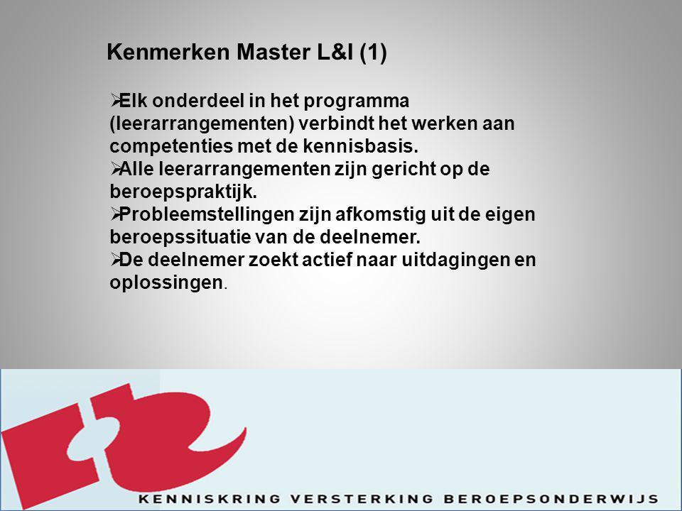 Kenmerken Master L&I (2)  De deelnemers geven mede invulling aan de leerarrangementen door het inbrengen van ontwikkelingen die in hun werkveld plaats vinden.