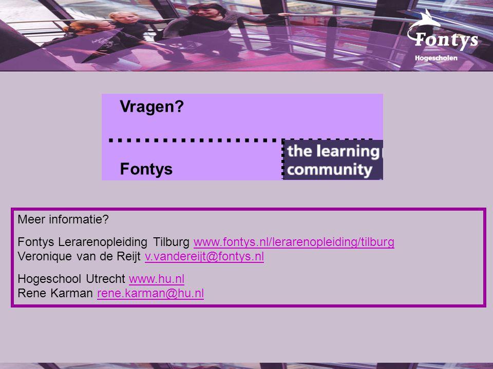 Vragen? ………………………... Fontys Meer informatie? Fontys Lerarenopleiding Tilburg www.fontys.nl/lerarenopleiding/tilburg Veronique van de Reijt v.vandereij