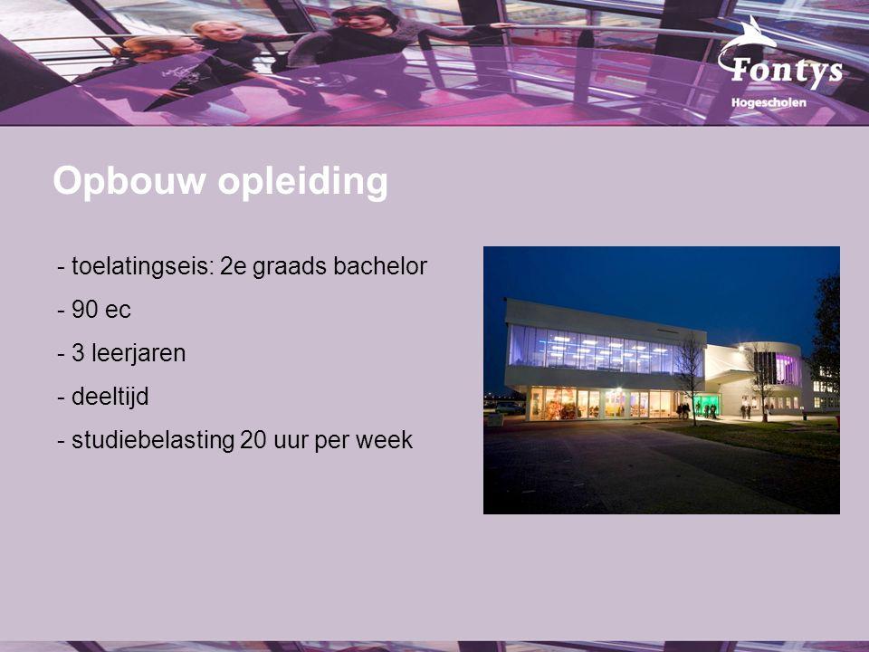 fer. Opbouw opleiding - toelatingseis: 2e graads bachelor - 90 ec - 3 leerjaren - deeltijd - studiebelasting 20 uur per week