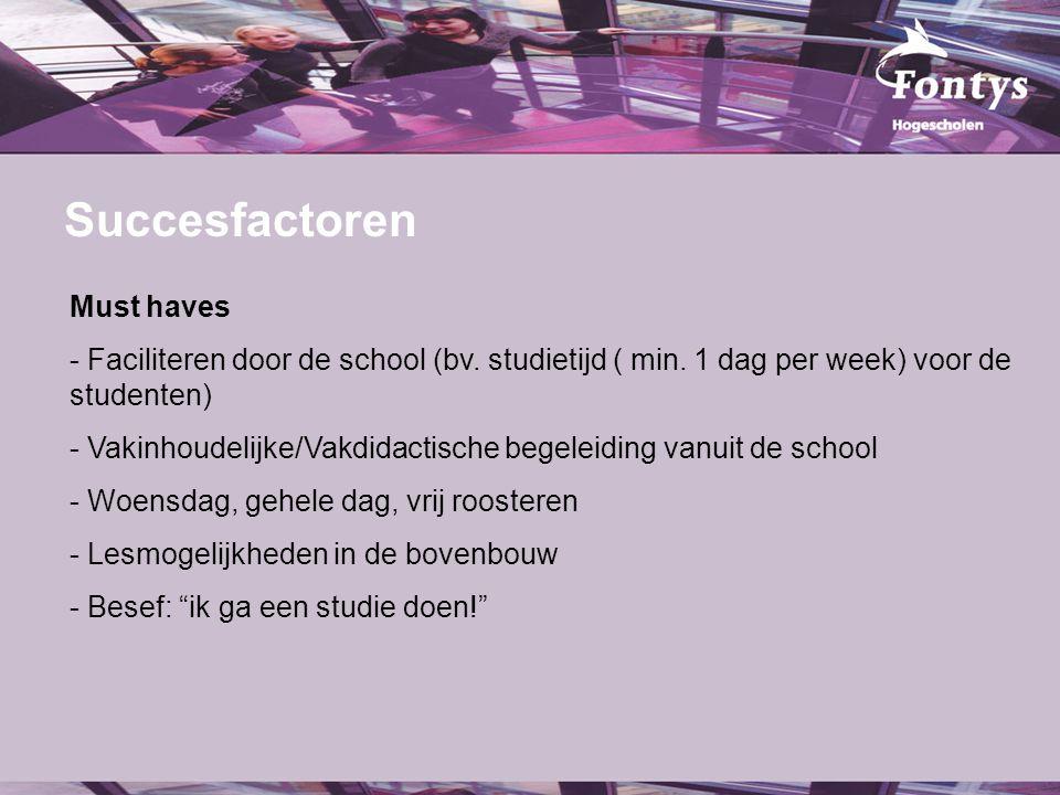 fer. Succesfactoren Must haves - Faciliteren door de school (bv. studietijd ( min. 1 dag per week) voor de studenten) - Vakinhoudelijke/Vakdidactische