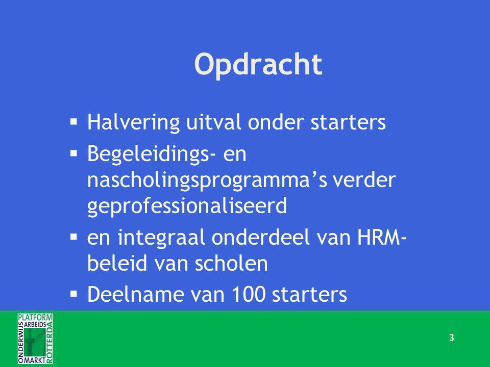 Opdracht  Halvering uitval onder starters  Begeleidings- en nascholingsprogramma's verder geprofessionaliseerd  en integraal onderdeel van HRM- beleid van scholen  Deelname van 100 starters 3