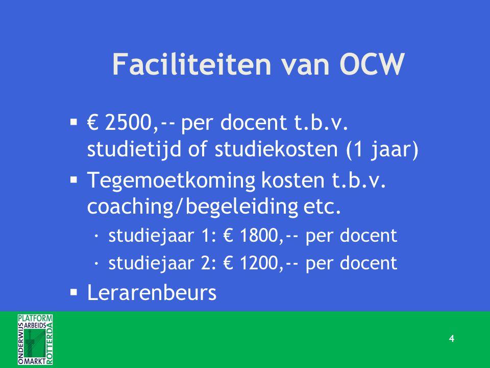Faciliteiten van OCW  € 2500,-- per docent t.b.v. studietijd of studiekosten (1 jaar)  Tegemoetkoming kosten t.b.v. coaching/begeleiding etc. ·studi